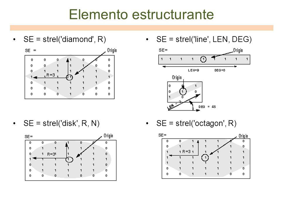 SE = strel('diamond', R) SE = strel('disk', R, N) SE = strel('line', LEN, DEG) SE = strel('octagon', R) Elemento estructurante