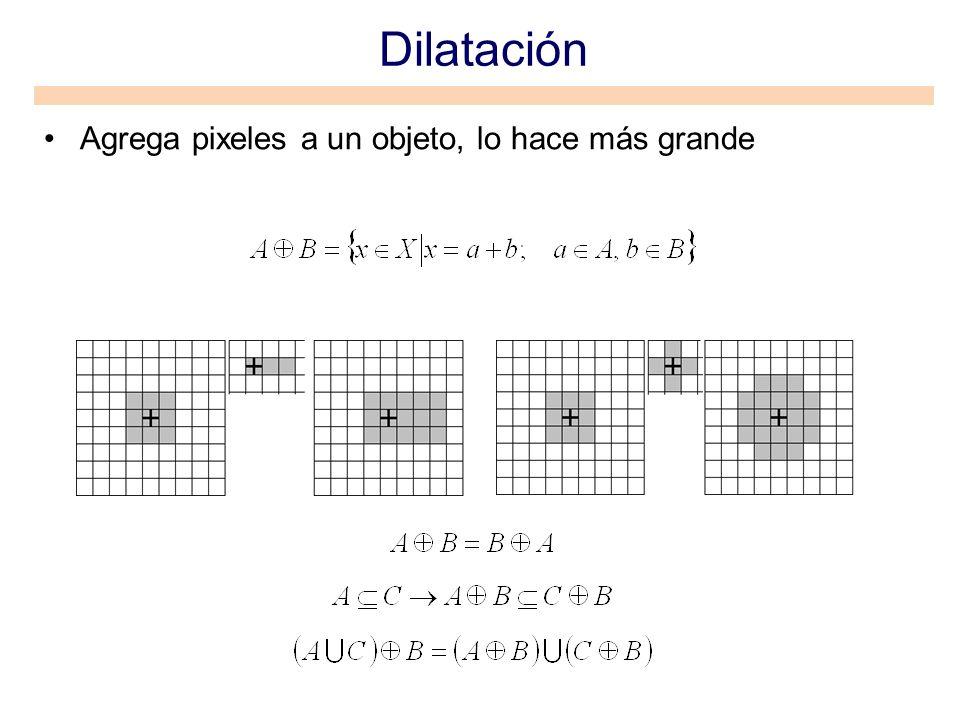 Dilatación Agrega pixeles a un objeto, lo hace más grande