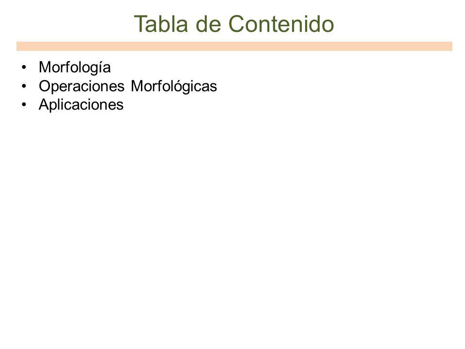 Tabla de Contenido Morfología Operaciones Morfológicas Aplicaciones