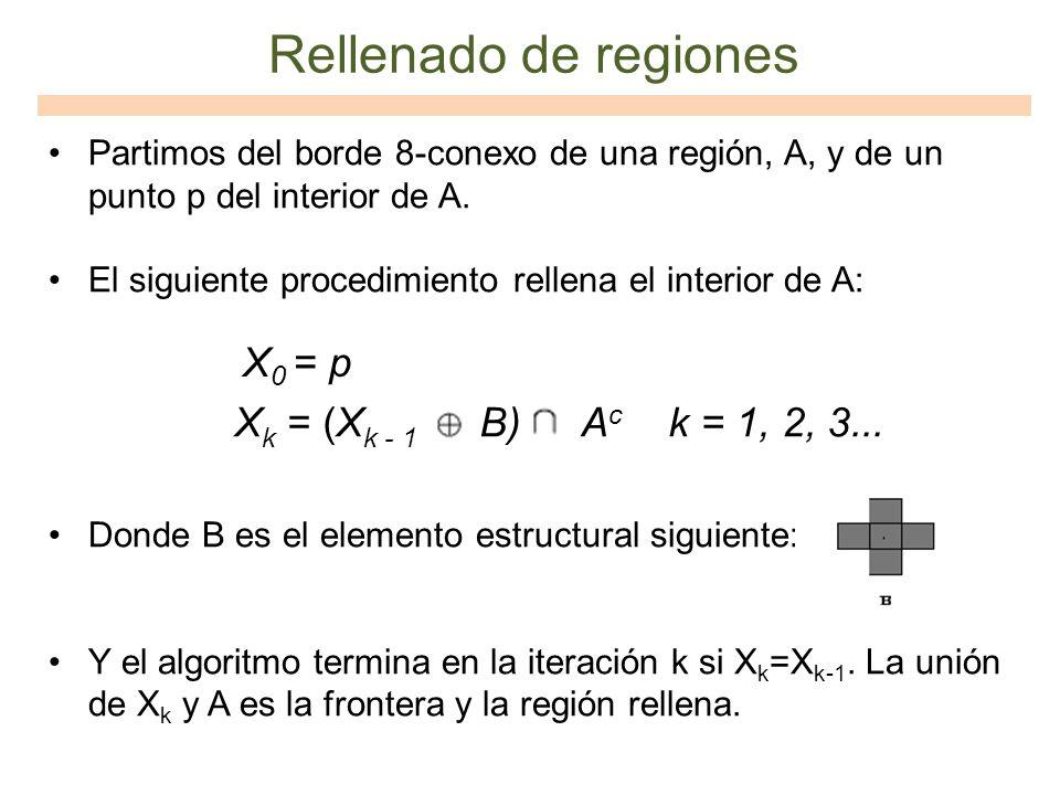 Partimos del borde 8-conexo de una región, A, y de un punto p del interior de A. El siguiente procedimiento rellena el interior de A: Donde B es el el