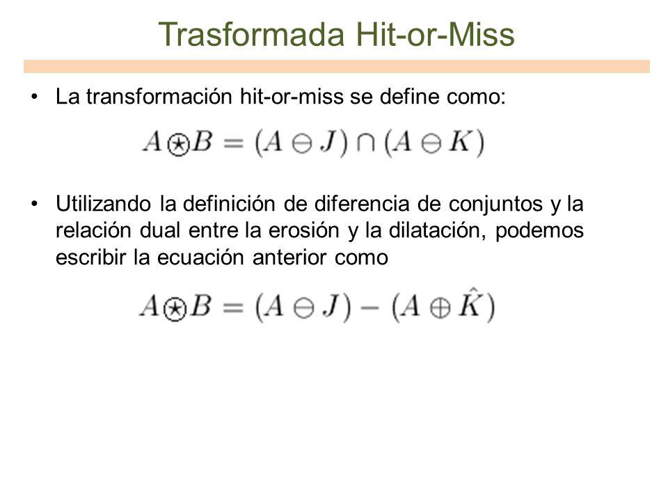 Trasformada Hit-or-Miss La transformación hit-or-miss se define como: Utilizando la definición de diferencia de conjuntos y la relación dual entre la