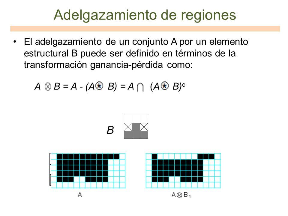 Adelgazamiento de regiones El adelgazamiento de un conjunto A por un elemento estructural B puede ser definido en términos de la transformación gananc
