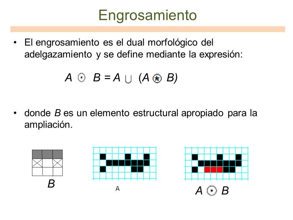 Engrosamiento El engrosamiento es el dual morfológico del adelgazamiento y se define mediante la expresión: donde B es un elemento estructural apropia