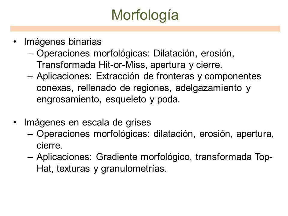 Morfología Imágenes binarias –Operaciones morfológicas: Dilatación, erosión, Transformada Hit-or-Miss, apertura y cierre. –Aplicaciones: Extracción de