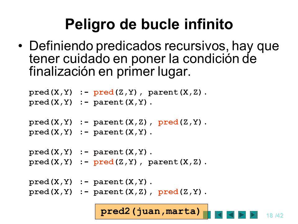 18/42 Definiendo predicados recursivos, hay que tener cuidado en poner la condición de finalización en primer lugar. pred(X,Y) :- pred(Z,Y), parent(X,