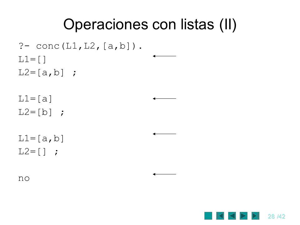 28/42 Operaciones con listas (II) ?- conc(L1,L2,[a,b]). L1=[] L2=[a,b] ; L1=[a] L2=[b] ; L1=[a,b] L2=[] ; no