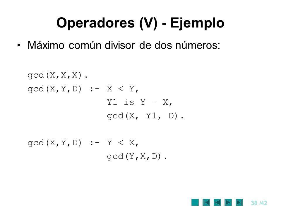 38/42 Operadores (V) - Ejemplo Máximo común divisor de dos números: gcd(X,X,X). gcd(X,Y,D) :- X < Y, Y1 is Y – X, gcd(X, Y1, D). gcd(X,Y,D) :- Y < X,