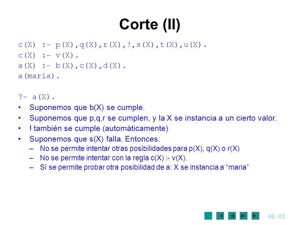 46/42 Corte (II) c(X) :- p(X),q(X),r(X),!,s(X),t(X),u(X). c(X) :- v(X). a(X) :- b(X),c(X),d(X). a(maria). ?- a(X). Suponemos que b(X) se cumple. Supon