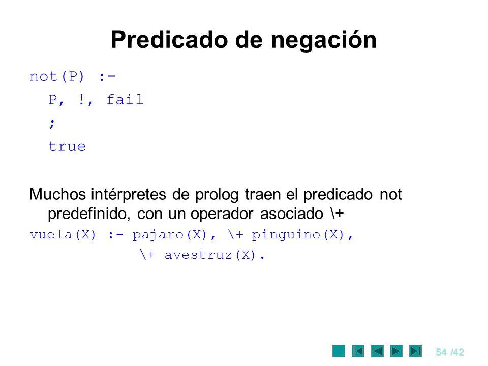 54/42 Predicado de negación not(P) :- P, !, fail ; true Muchos intérpretes de prolog traen el predicado not predefinido, con un operador asociado \+ v