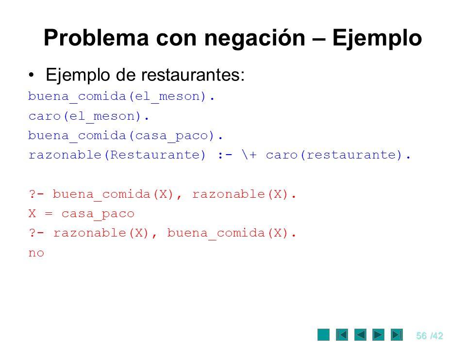 56/42 Problema con negación – Ejemplo Ejemplo de restaurantes: buena_comida(el_meson). caro(el_meson). buena_comida(casa_paco). razonable(Restaurante)