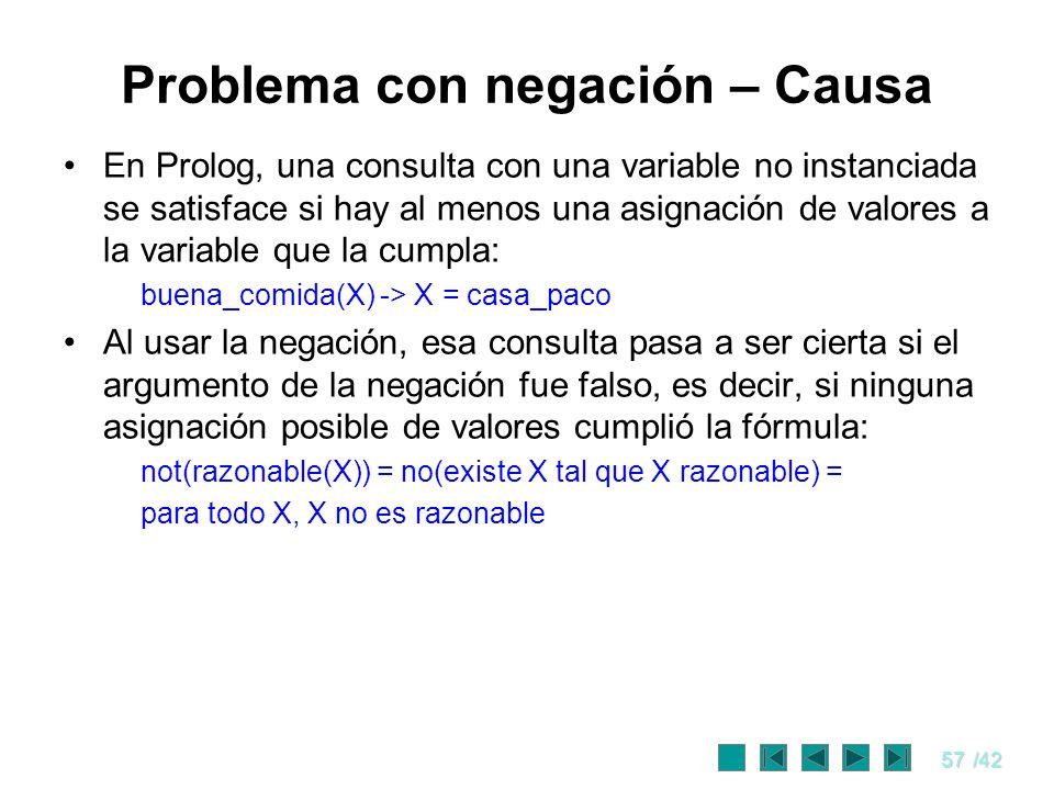 57/42 Problema con negación – Causa En Prolog, una consulta con una variable no instanciada se satisface si hay al menos una asignación de valores a l
