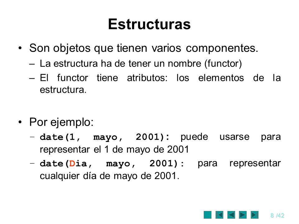 8/42 Estructuras Son objetos que tienen varios componentes. –La estructura ha de tener un nombre (functor) –El functor tiene atributos: los elementos