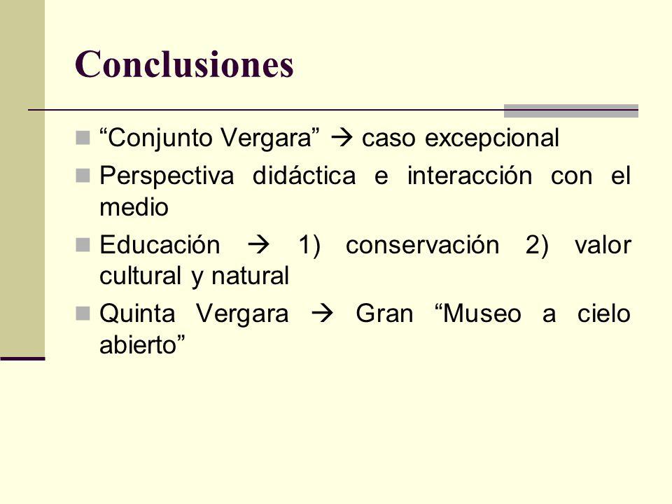 Conclusiones Conjunto Vergara caso excepcional Perspectiva didáctica e interacción con el medio Educación 1) conservación 2) valor cultural y natural