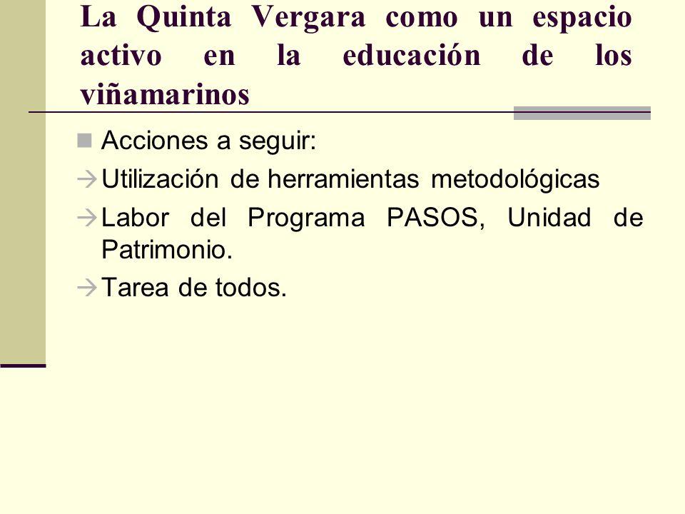 La Quinta Vergara como un espacio activo en la educación de los viñamarinos Acciones a seguir: Utilización de herramientas metodológicas Labor del Pro