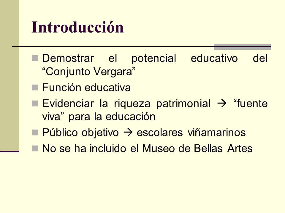 Introducción Demostrar el potencial educativo del Conjunto Vergara Función educativa Evidenciar la riqueza patrimonial fuente viva para la educación P