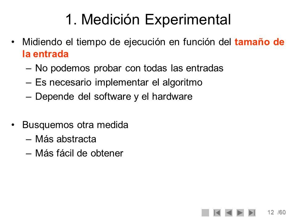 12/60 1. Medición Experimental Midiendo el tiempo de ejecución en función del tamaño de la entrada –No podemos probar con todas las entradas –Es neces