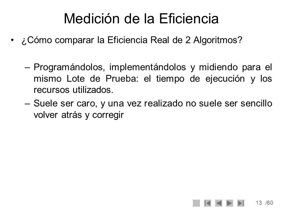 13/60 Medición de la Eficiencia ¿Cómo comparar la Eficiencia Real de 2 Algoritmos? –Programándolos, implementándolos y midiendo para el mismo Lote de