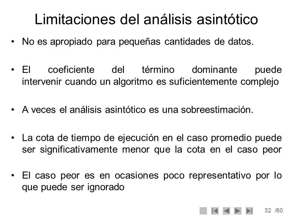 32/60 Limitaciones del análisis asintótico No es apropiado para pequeñas cantidades de datos. El coeficiente del término dominante puede intervenir cu
