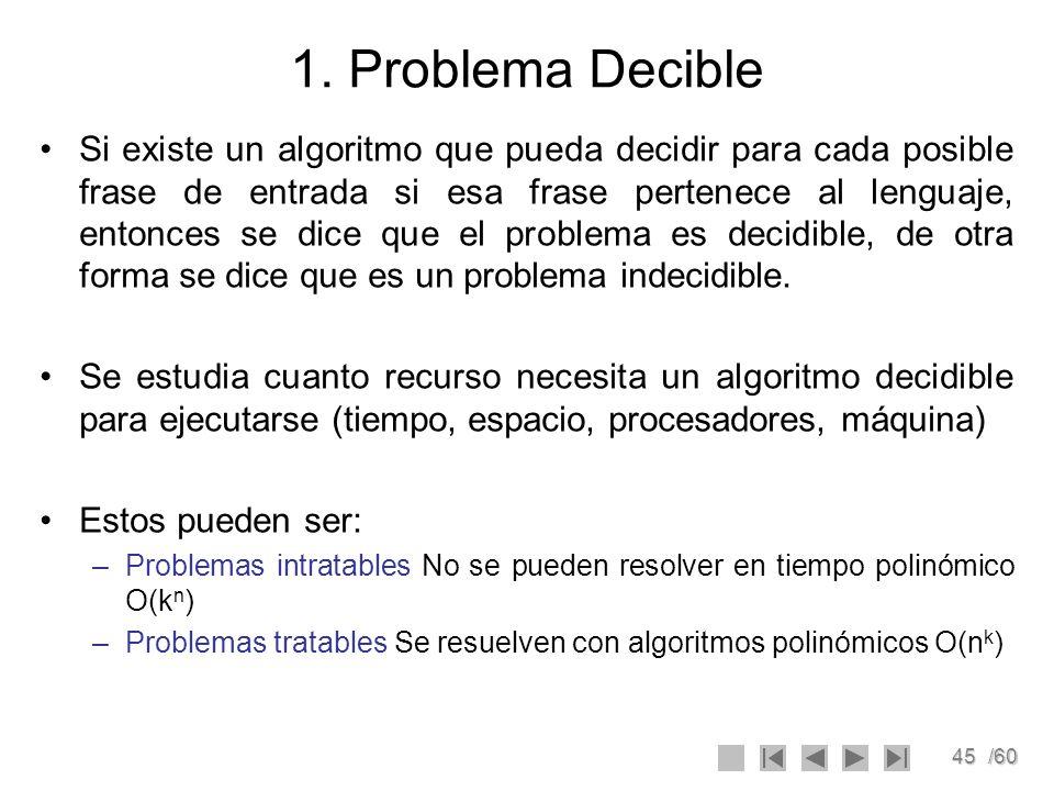 45/60 1. Problema Decible Si existe un algoritmo que pueda decidir para cada posible frase de entrada si esa frase pertenece al lenguaje, entonces se