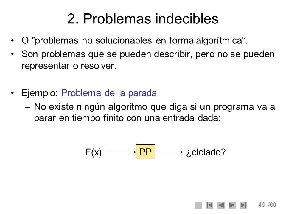 46/60 2. Problemas indecibles O