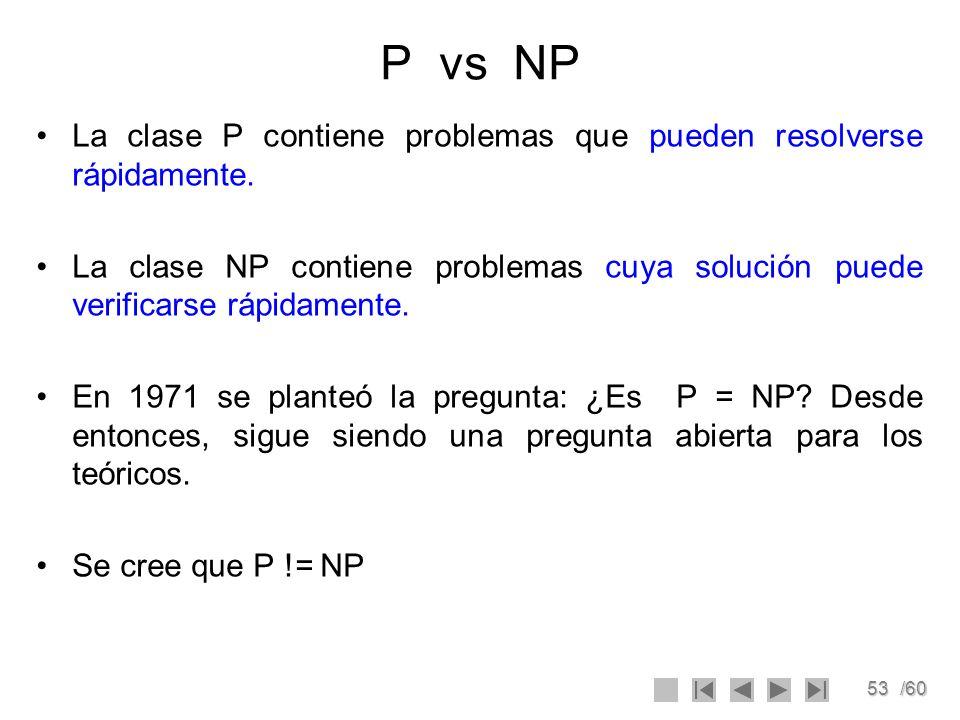 53/60 P vs NP La clase P contiene problemas que pueden resolverse rápidamente. La clase NP contiene problemas cuya solución puede verificarse rápidame