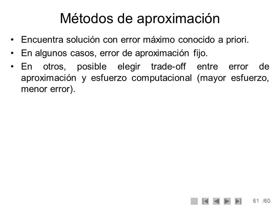 61/60 Métodos de aproximación Encuentra solución con error máximo conocido a priori. En algunos casos, error de aproximación fijo. En otros, posible e