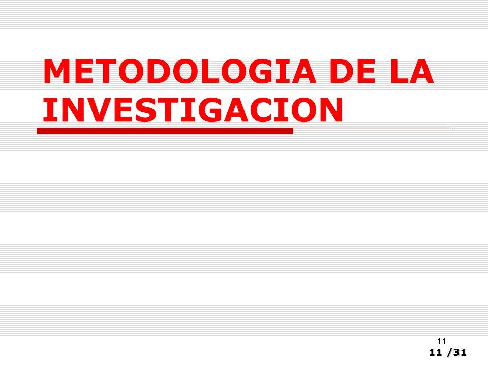 11/31 11 METODOLOGIA DE LA INVESTIGACION