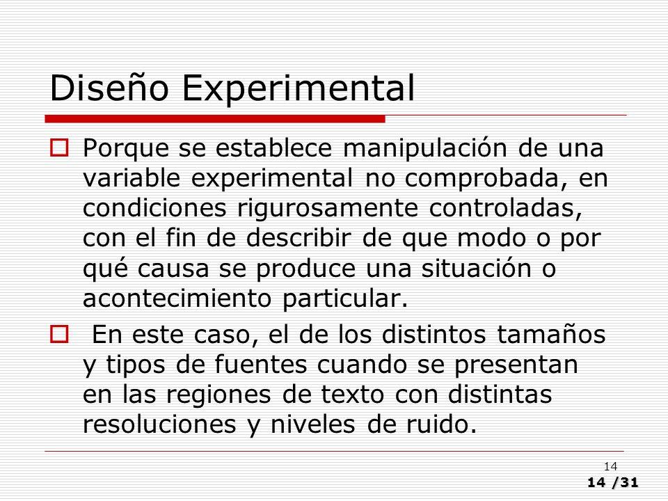 14/31 14 Diseño Experimental Porque se establece manipulación de una variable experimental no comprobada, en condiciones rigurosamente controladas, co