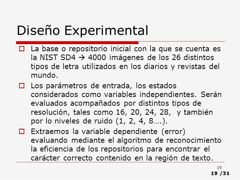 19/31 19 Diseño Experimental La base o repositorio inicial con la que se cuenta es la NIST SD4 4000 imágenes de los 26 distintos tipos de letra utiliz