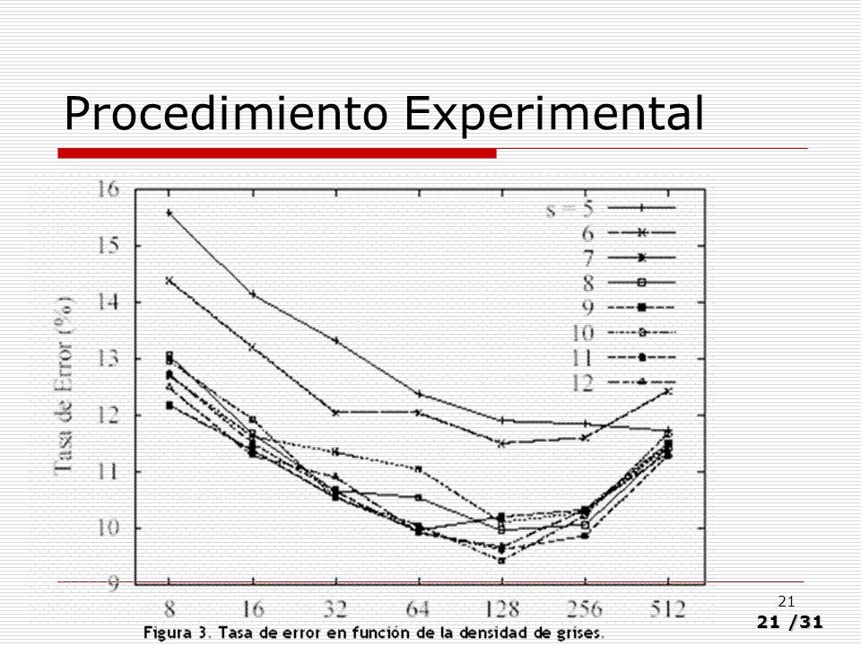21/31 21 Procedimiento Experimental