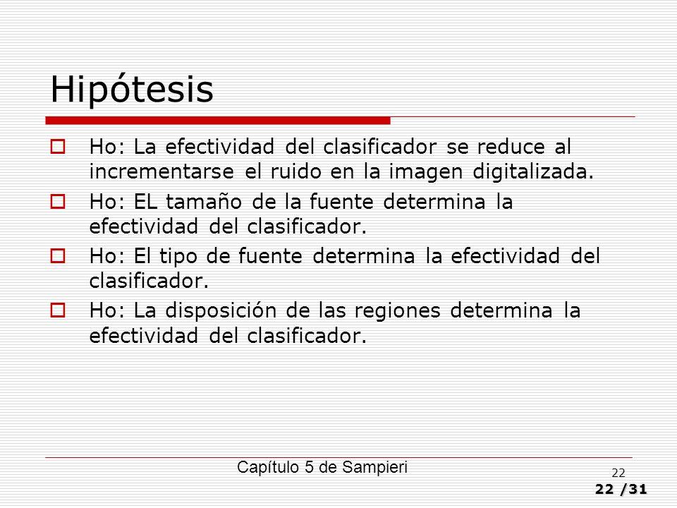 22/31 22 Hipótesis Ho: La efectividad del clasificador se reduce al incrementarse el ruido en la imagen digitalizada. Ho: EL tamaño de la fuente deter