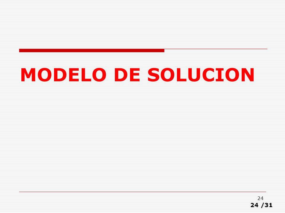 24/31 24 MODELO DE SOLUCION