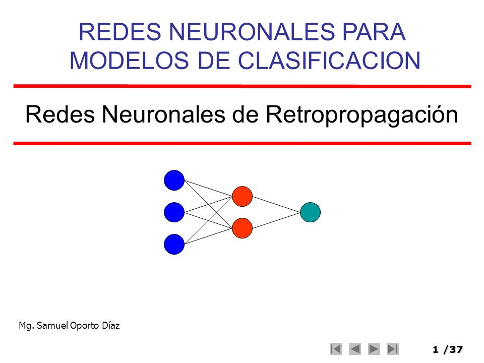 1/37 Redes Neuronales de Retropropagación REDES NEURONALES PARA MODELOS DE CLASIFICACION Mg. Samuel Oporto Díaz