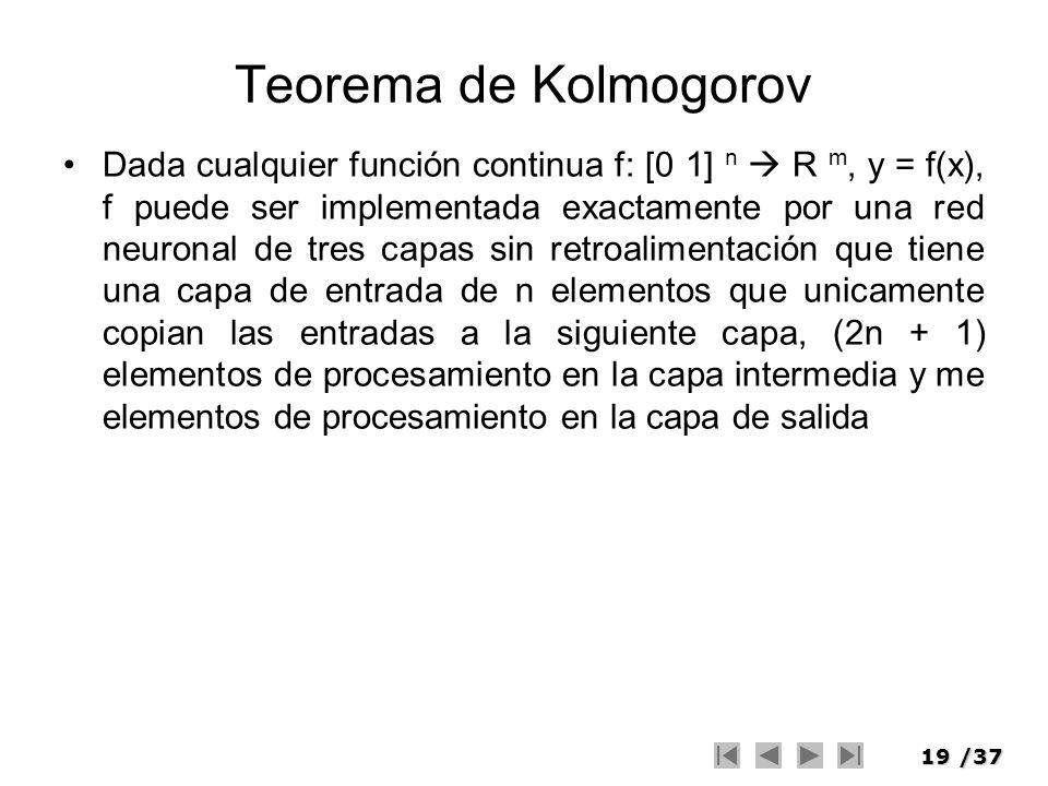19/37 Teorema de Kolmogorov Dada cualquier función continua f: [0 1] n R m, y = f(x), f puede ser implementada exactamente por una red neuronal de tre