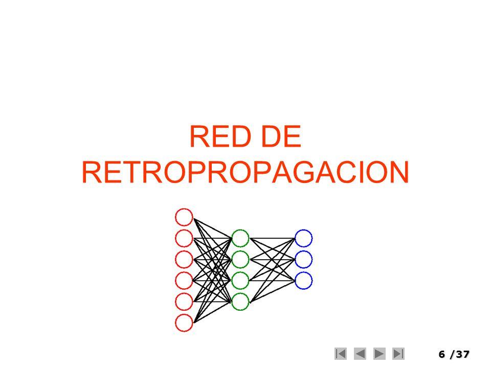 7/37 Retropropagación Procedimiento para encontrar el vector gradiente de una función error asociada a la salida de la red con respecto a los parámetros de la misma El nombre backpropagation surge pues el cálculo se hace en el sentido inverso de la red, propagándose desde los nodos de salida hacia los nodos de entrada Esto permite poder aplicar a posteriori alguno de los muchos métodos de optimización con gradiente para obtener el comportamiento deseado de la red