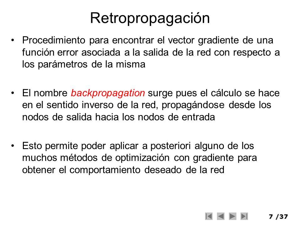 8/37 Retropropagación f() entradas Pesos k = capa sumatoria constante b función de transferencia resultado net =o k (n) salida calculada y k (n) x 1 (n) w k1 (n) x 2 (n) x 3 (n) w k2 (n) w k3 (n) e k (n) = d k (n) – y k (n) salida deseada d k (n) e k (n)
