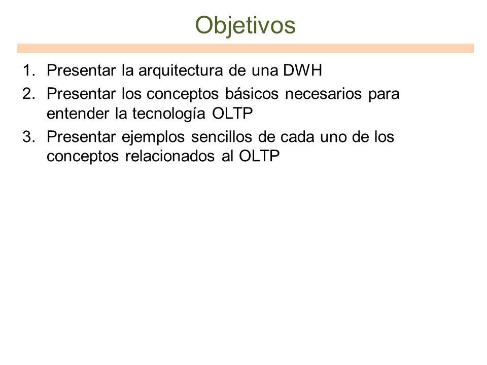 Objetivos 1.Presentar la arquitectura de una DWH 2.Presentar los conceptos básicos necesarios para entender la tecnología OLTP 3.Presentar ejemplos se