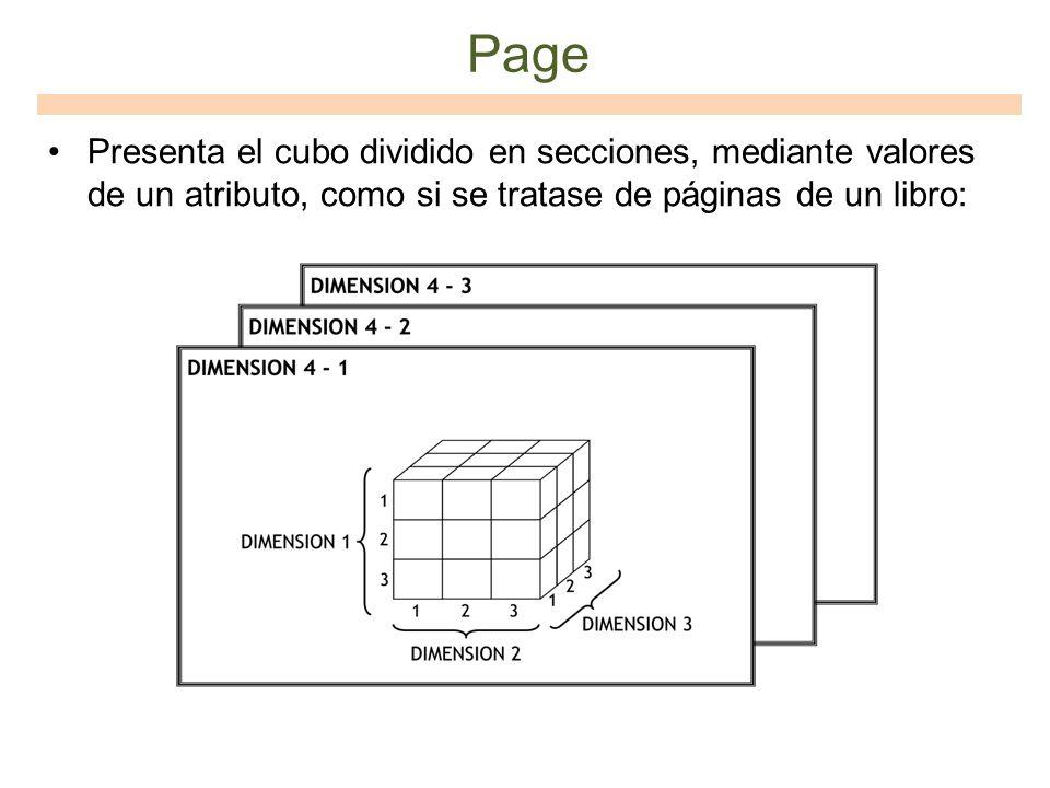 Page Presenta el cubo dividido en secciones, mediante valores de un atributo, como si se tratase de páginas de un libro: