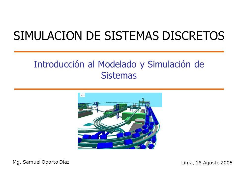 Introducción al Modelado y Simulación de Sistemas Mg. Samuel Oporto Díaz Lima, 18 Agosto 2005 SIMULACION DE SISTEMAS DISCRETOS