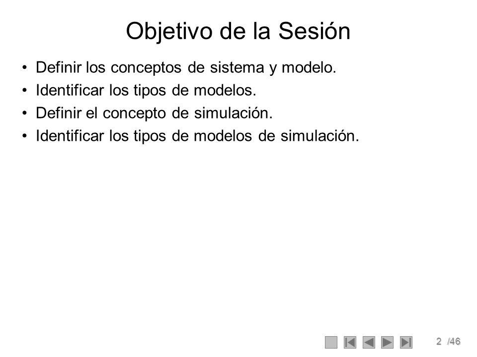 2/46 Objetivo de la Sesión Definir los conceptos de sistema y modelo. Identificar los tipos de modelos. Definir el concepto de simulación. Identificar