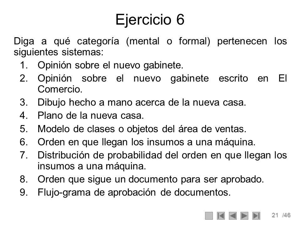 21/46 Ejercicio 6 Diga a qué categoría (mental o formal) pertenecen los siguientes sistemas: 1.Opinión sobre el nuevo gabinete. 2.Opinión sobre el nue