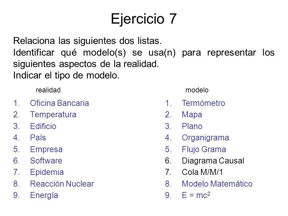 Ejercicio 7 1.Oficina Bancaria 2.Temperatura 3.Edificio 4.País 5.Empresa 6.Software 7.Epidemia 8.Reacción Nuclear 9.Energía 1.Termómetro 2.Mapa 3.Plan