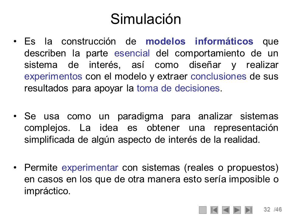 32/46 Simulación Es la construcción de modelos informáticos que describen la parte esencial del comportamiento de un sistema de interés, así como dise