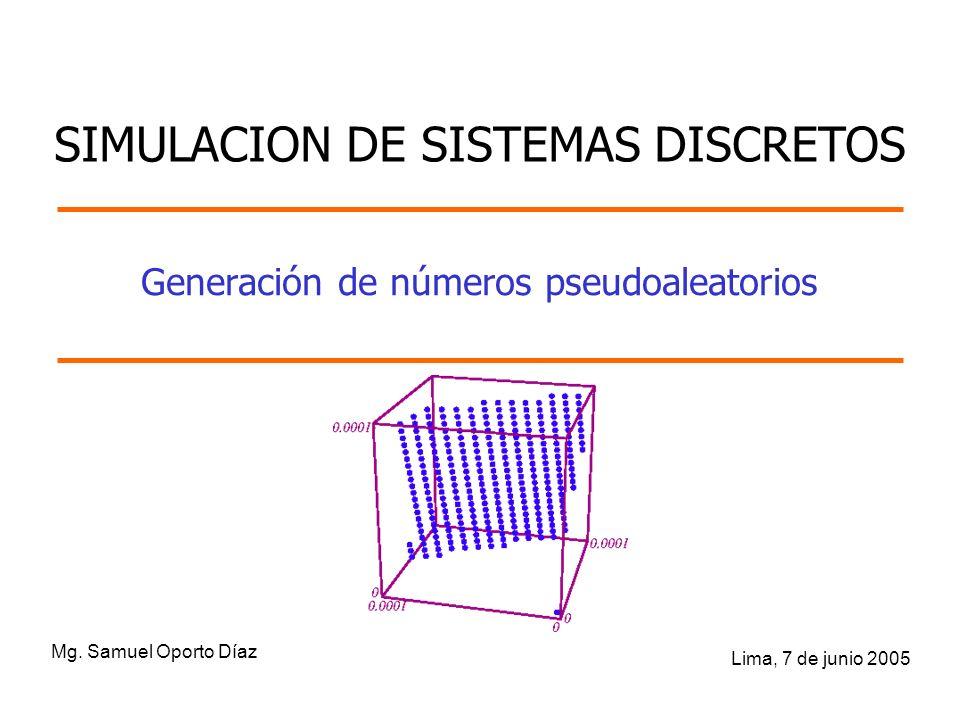 Generación de números pseudoaleatorios Mg. Samuel Oporto Díaz Lima, 7 de junio 2005 SIMULACION DE SISTEMAS DISCRETOS