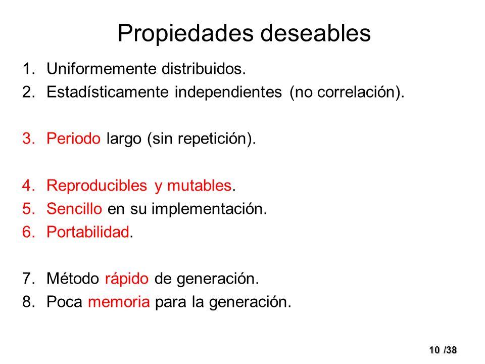 10/38 Propiedades deseables 1.Uniformemente distribuidos. 2.Estadísticamente independientes (no correlación). 3.Periodo largo (sin repetición). 4.Repr
