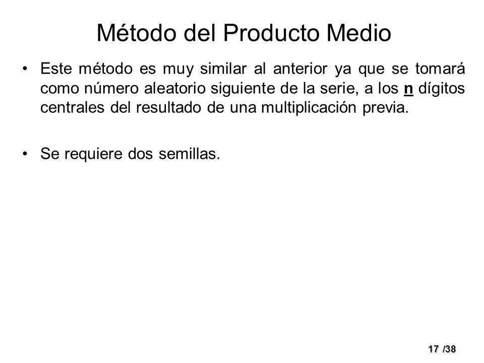 17/38 Método del Producto Medio Este método es muy similar al anterior ya que se tomará como número aleatorio siguiente de la serie, a los n dígitos c