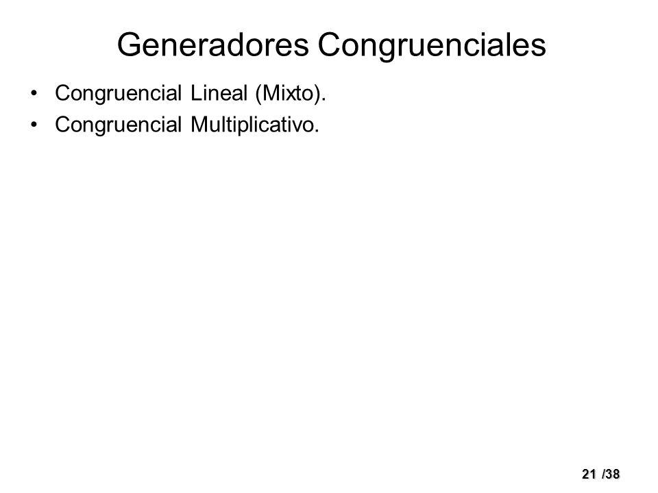 21/38 Generadores Congruenciales Congruencial Lineal (Mixto). Congruencial Multiplicativo.