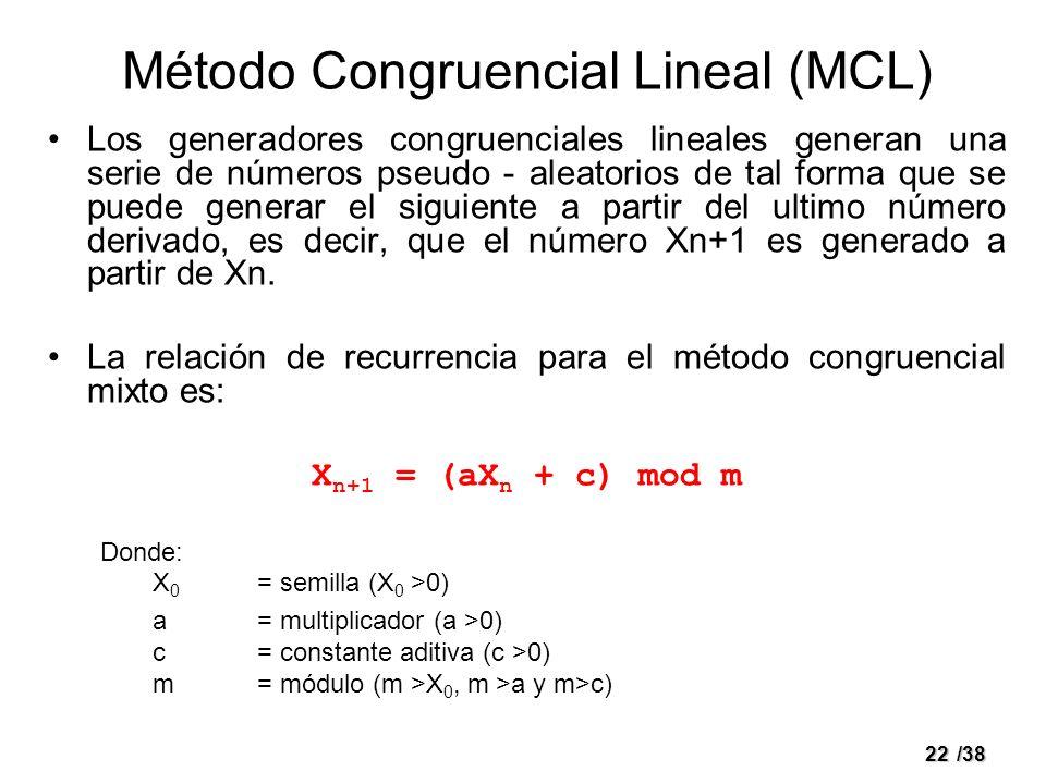 22/38 Método Congruencial Lineal (MCL) Los generadores congruenciales lineales generan una serie de números pseudo - aleatorios de tal forma que se pu