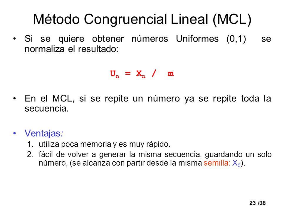 23/38 Método Congruencial Lineal (MCL) Si se quiere obtener números Uniformes (0,1) se normaliza el resultado: U n = X n / m En el MCL, si se repite u