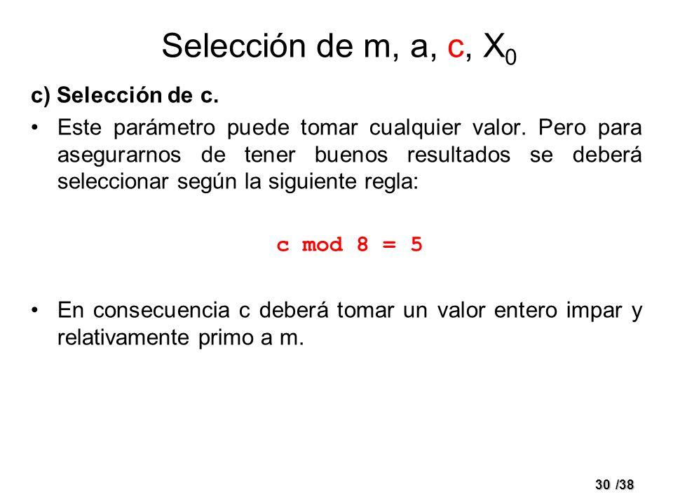 30/38 c) Selección de c. Este parámetro puede tomar cualquier valor. Pero para asegurarnos de tener buenos resultados se deberá seleccionar según la s
